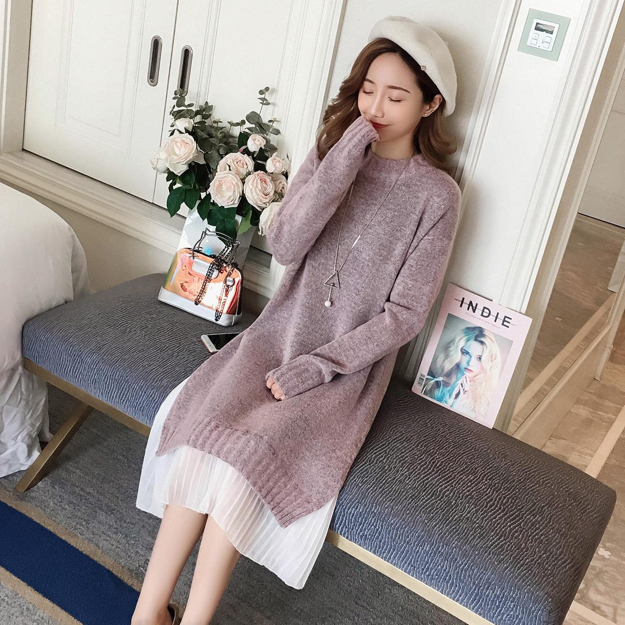 圆领毛衣裙女冬季2018新款韩版拼接百褶雪纺连衣