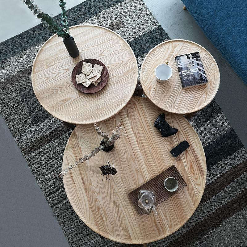 忆朴北欧茶几小户型边几圆形高低组合原木纯实木客厅现代简约创意