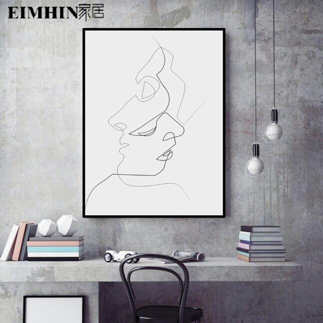 北欧风格现代简约客厅背景墙装饰画卧室挂画极简抽象人物线条ins
