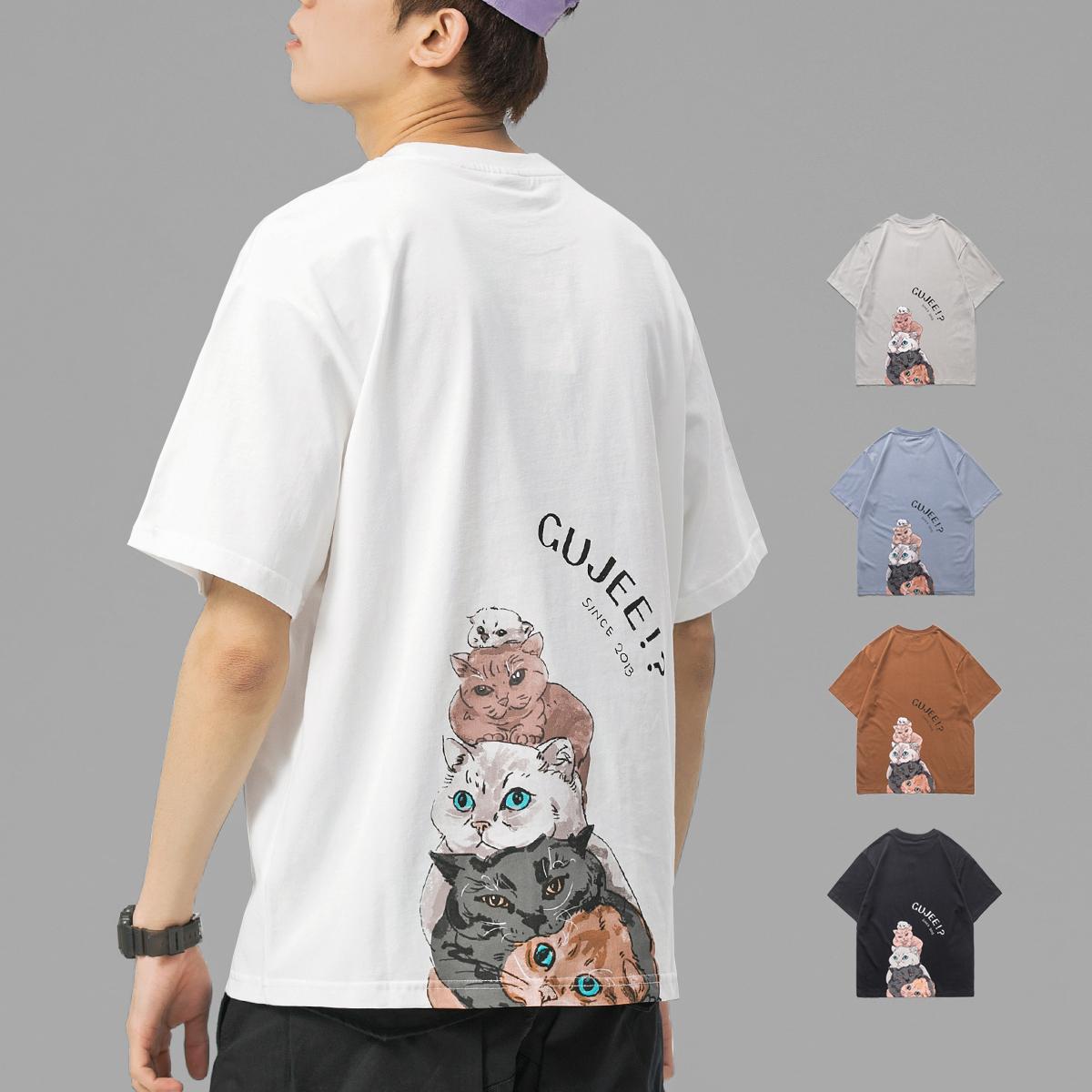 夏季短袖t恤男潮牌潮流卡通猫咪纯棉情侣装半袖体恤衫ins潮打底衫