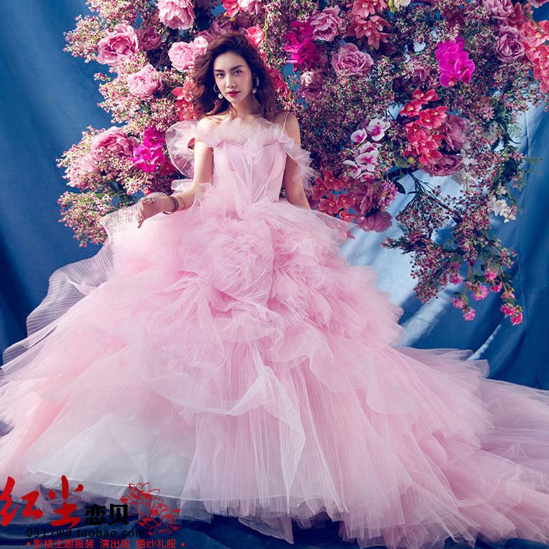 2019春新款影楼主题摄影服装森系粉色婚纱网红公主梦幻显瘦仙礼服