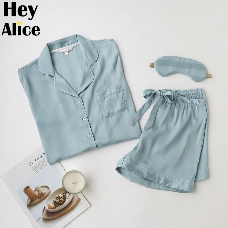 气质条纹冰丝睡衣女夏季薄款短袖纯色蓝色家居服三件套装质感简约