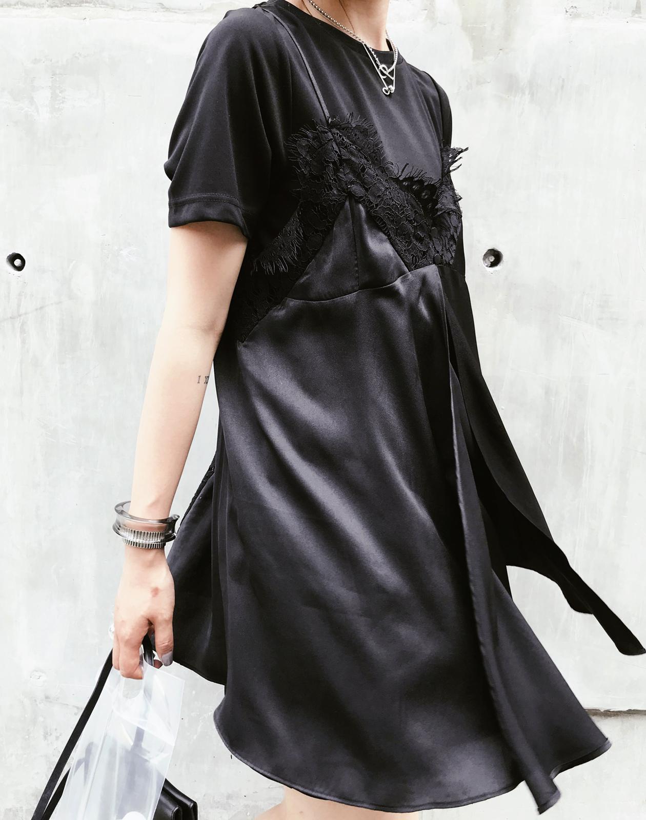 iWiNG 夏季日常小心机性感蕾丝吊带两件套连衣裙小黑裙女新款时髦