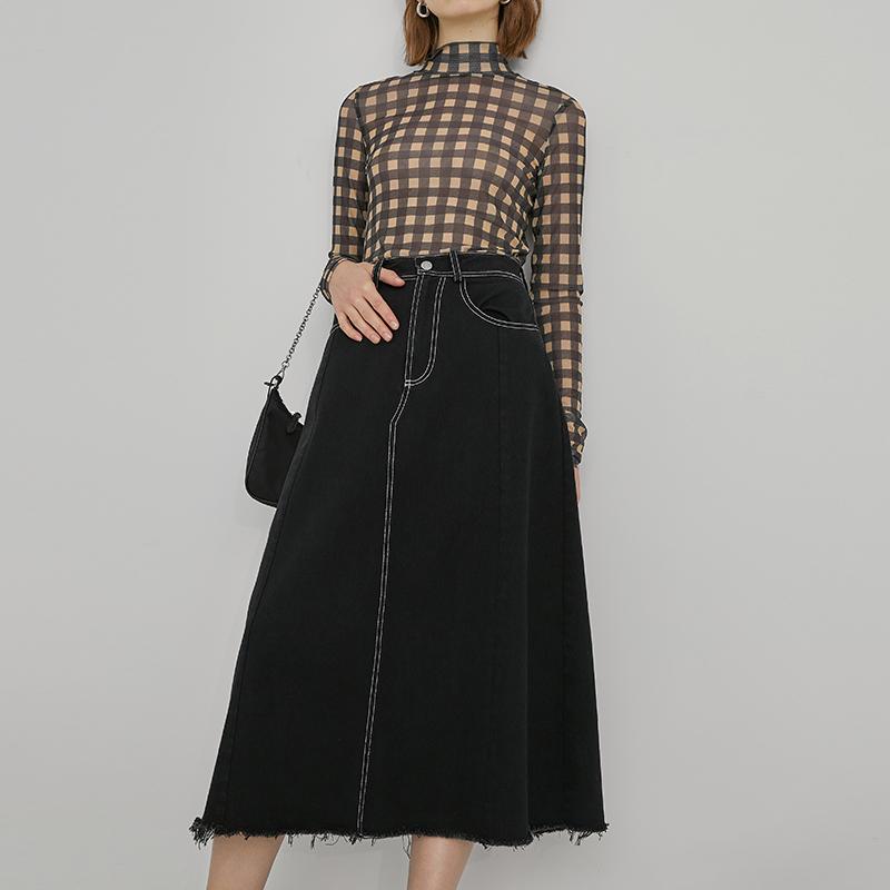 范洛 2020春季新款黑色明线设计可盐可甜显瘦牛仔A字中长款半身裙