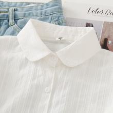 春秋新款娃娃领纯at5白衬衫女as新学生衬衣打底衫学院风上衣