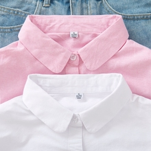 202ba0秋季新款rn娃领纯棉牛津纺衬衫女长袖粉色衬衣打底衫