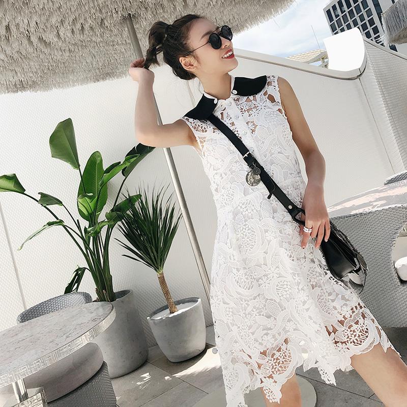 MADEINAM 夏季小清新白色镂空无袖连衣裙刺绣不规则高腰荷叶边裙