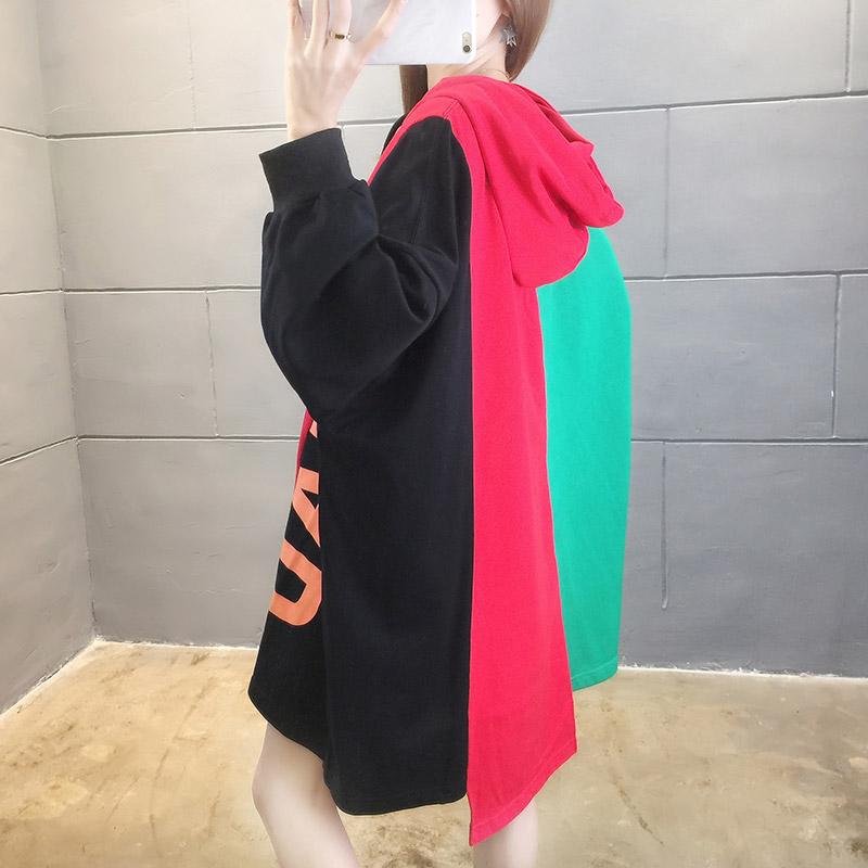 2020新款韩版秋季宽松大码拼色印花中长款连帽女卫衣1626 -