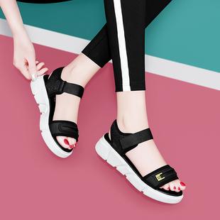 古奇天伦皇妹女鞋2020新款漂亮宝贝正品专柜南王露趾坡跟运动凉鞋