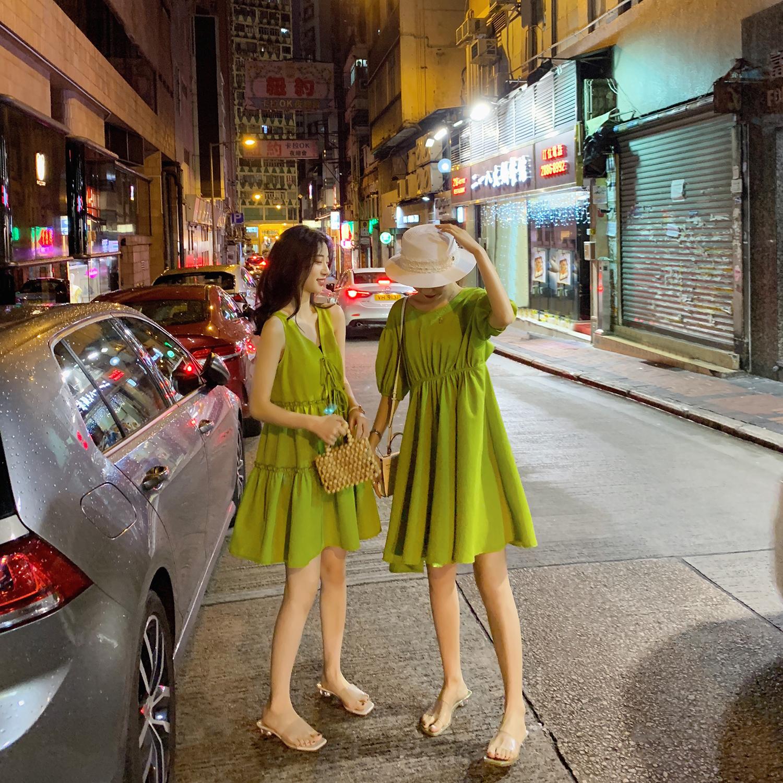 女装2019款闺蜜装牛油果绿裙子仙女超仙森系夏季连衣裙小清新