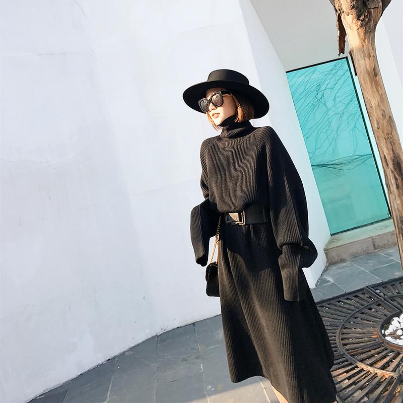 2017秋冬新款女装裙子 韩版高腰长袖针织连衣裙中长款高领毛衣裙