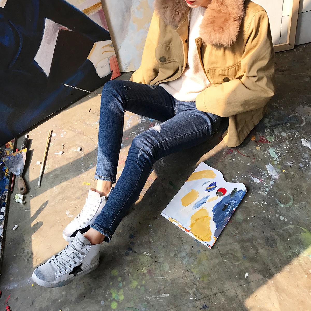 2017冬季新款女裤子 修身加绒加厚破洞牛仔裤女冬高腰铅笔裤长裤