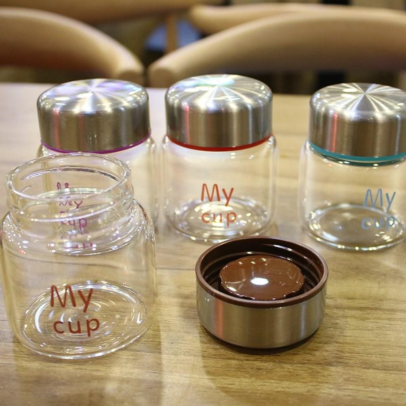 韩国ins迷你玻璃杯CUP创意可爱女学生便携随身带盖小巧随手茶杯子