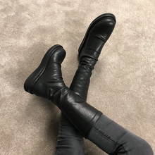 202gl0秋冬新式ny女厚底不过膝长靴网红瘦瘦靴子弹力靴中筒靴