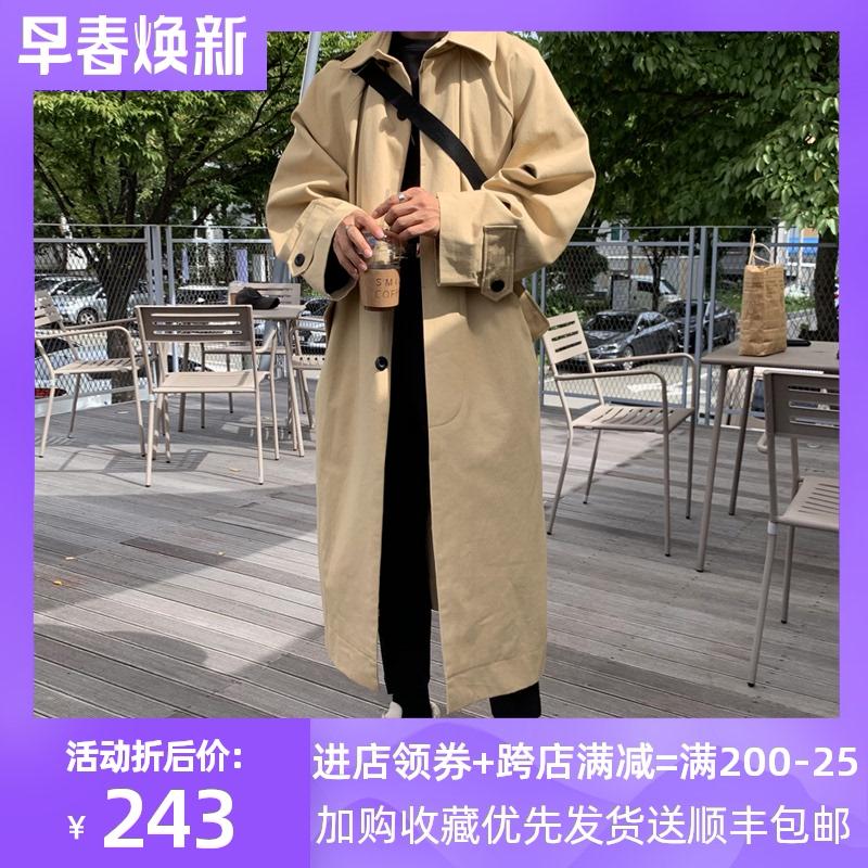 春秋韩版潮牌新款男装风衣青年休闲过膝超长款英伦风宽松大衣外套