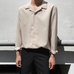 韩逐男装春夏雪纺衬衫青年男士韩版新款轻薄透气纱料纯色长袖衬衣