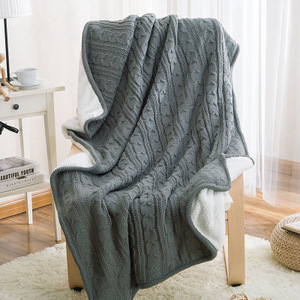 Japanese simple good quality solid color cashmere blanket winter single lunch break blanket leisure velvet knitted double-layer wool blanket