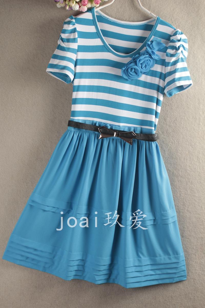 玖爱joai女装★夏新款时尚圆领条纹雪纺短袖连衣裙DH125