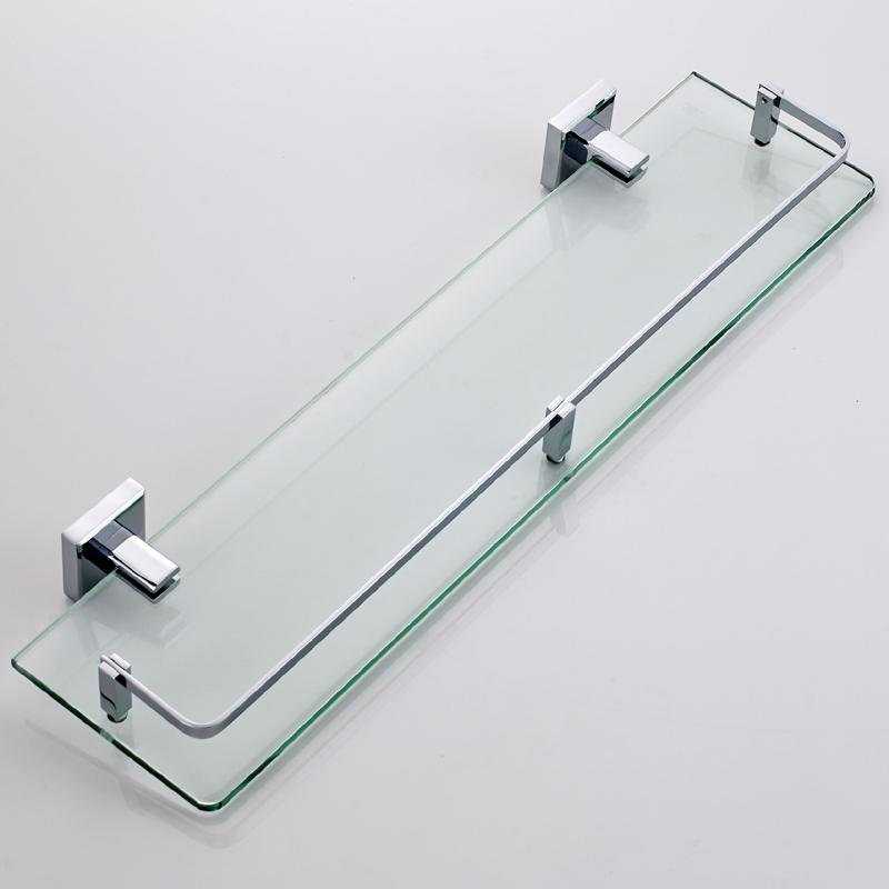 浴室洗手台厕所全铜卫生间钢化玻璃置物架镜前镜下单层收纳壁挂