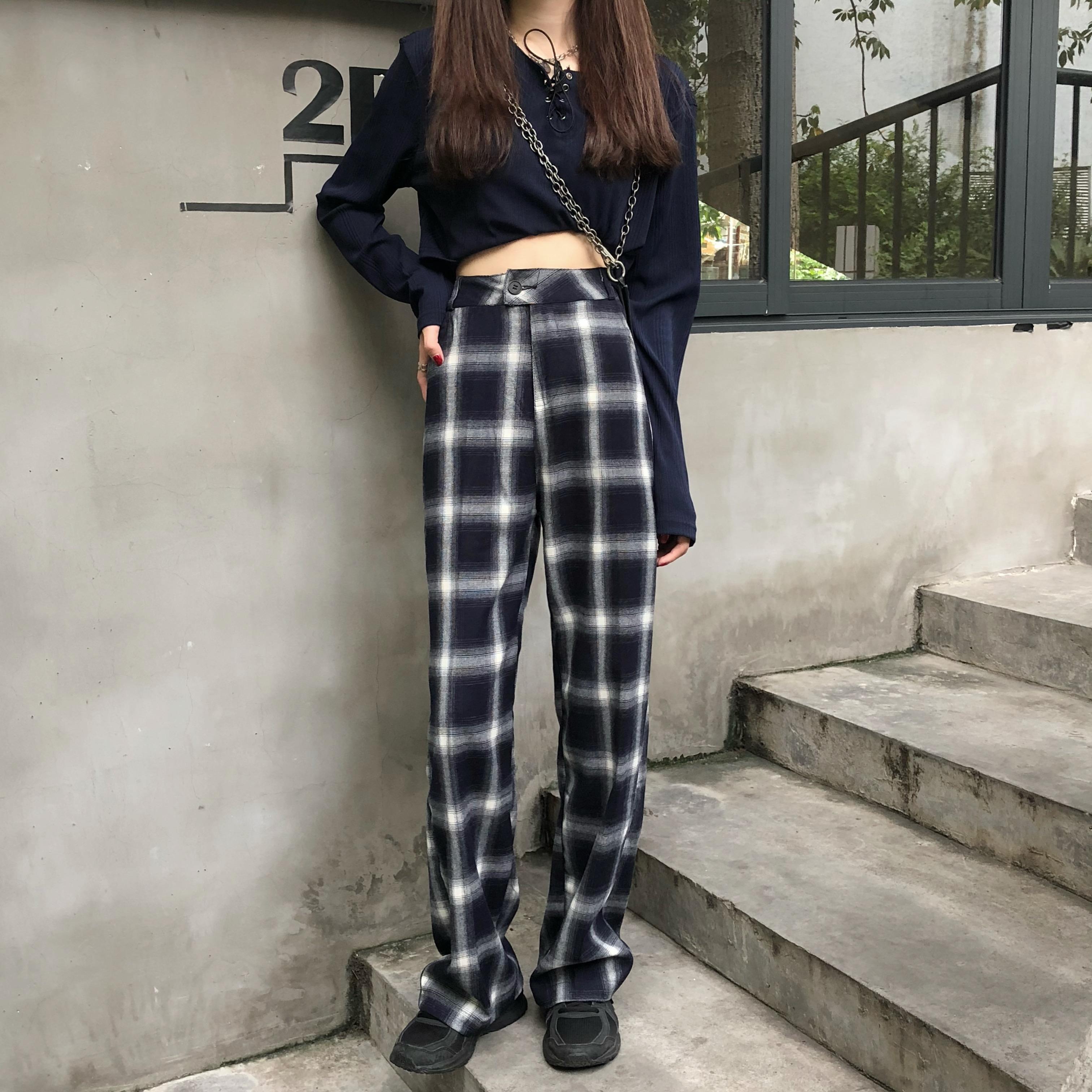 实拍实价~高腰格子显瘦直筒裤长裤-X·Y studio-