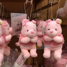 日本东京迪士尼樱花粉色ju8件(小)熊毛ne包挂饰