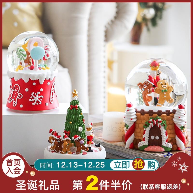 创意音乐盒八音盒旋转水晶球 生日礼物圣诞节礼物节日装饰品摆设