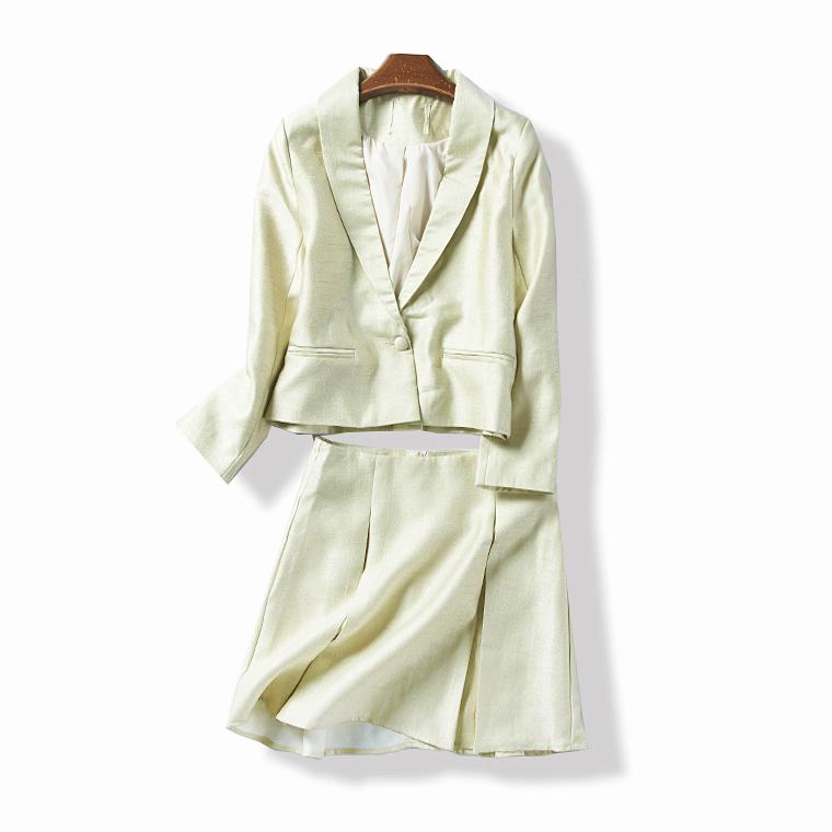 36110 春秋季新款女韩版气质修身一粒扣小西装半身裙两件套6月30