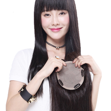 Meihe wig women's long hair real hair film head top patch real hair non trace invisible white hair mask wig