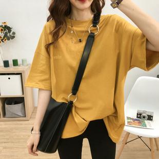 圆领刺绣小字母中长款短袖T恤女大码夏季韩版宽松显瘦学生上衣潮图片