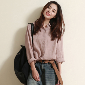 Produced by the Gu Family, cotton and linen shirts for women and women's new tops, design niche, loose long-sleeved linen shirts