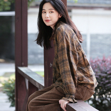 谷家 文艺复古全棉xi6毛格子衬en21新式宽松休闲长袖衬衣女