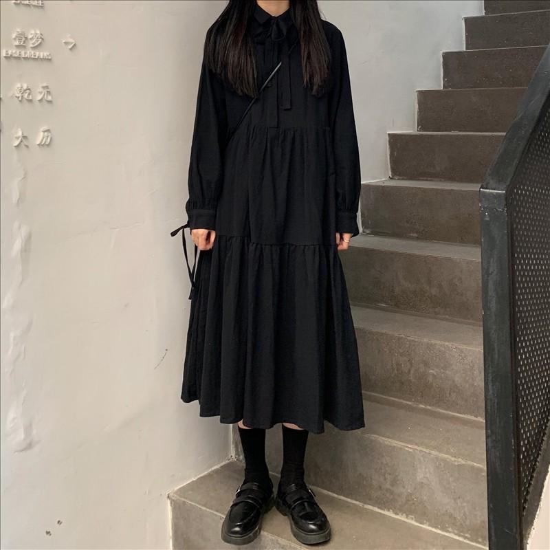 实拍 实价~ 韩版黑色连衣裙女-多多服饰-