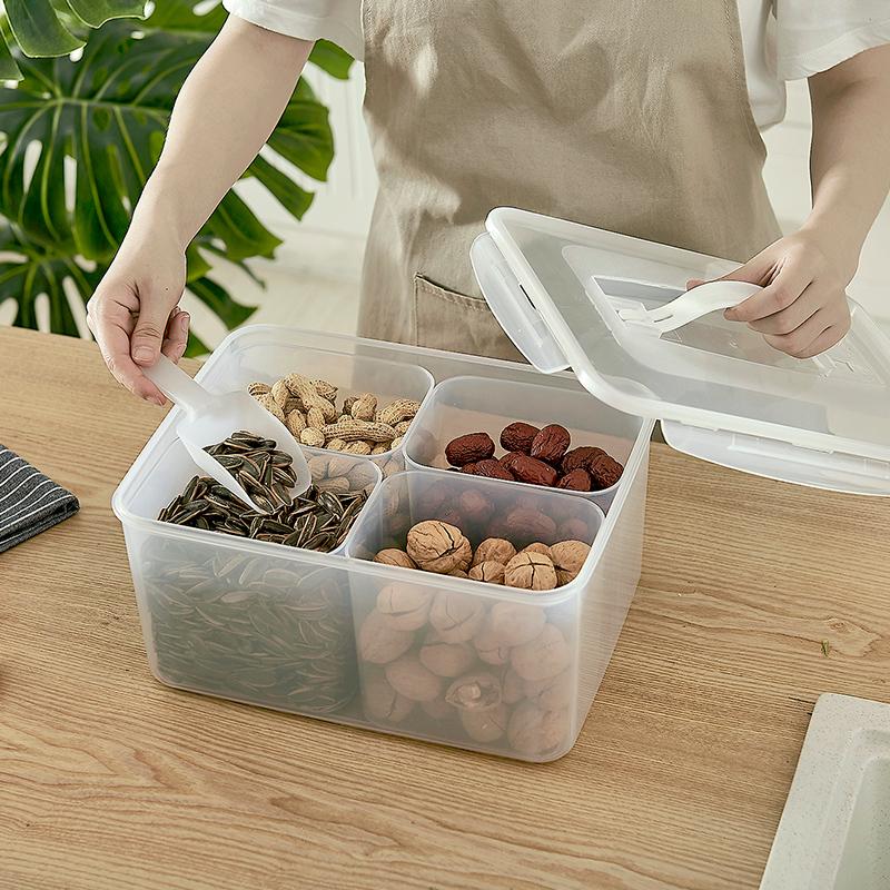 日式厨房手提五谷杂粮收纳盒分格保鲜盒塑料冰箱密封罐干货储物盒