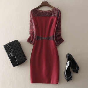 Mid-length beaded wedding banquet mother-in-law dress dress package hip 2020 spring new temperament women