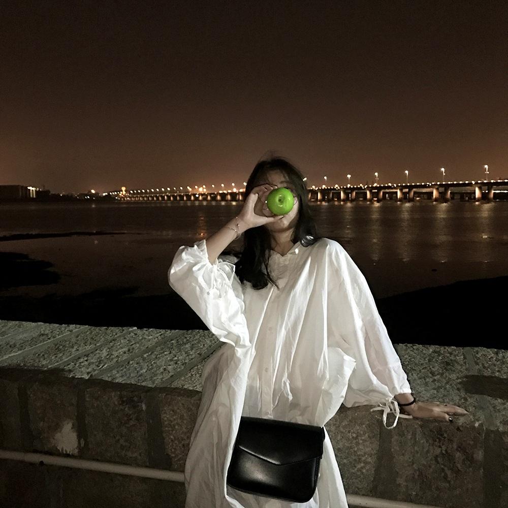 kumayes自制 春装新款中长款娃娃领宽松A字裙显瘦开衫衬衫连衣裙
