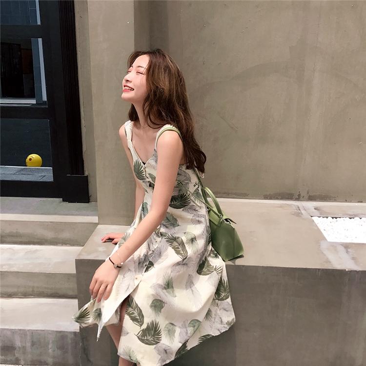 kumayes 夏季树叶印花蝴蝶结绑带单排扣棉麻背带裙韩版中长连衣裙