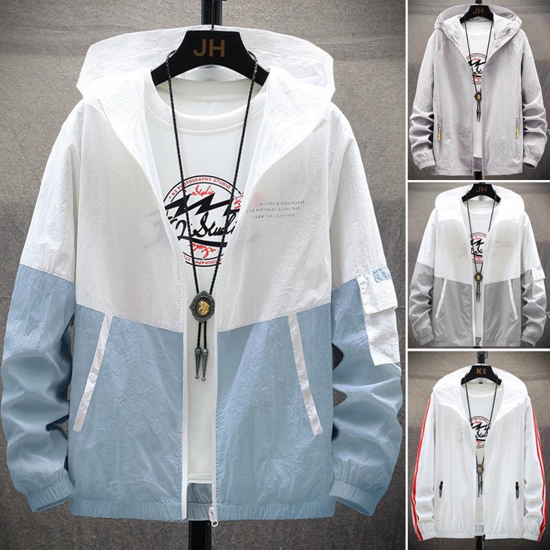 衣男夏季超薄透气皮肤衣男士韩版修身服潮流连帽外套夹克