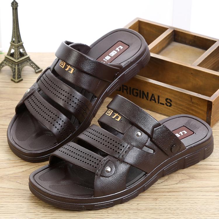 回力凉鞋男士休闲居家沙滩凉防水夏季仿皮塑胶耐磨两用凉拖鞋3657
