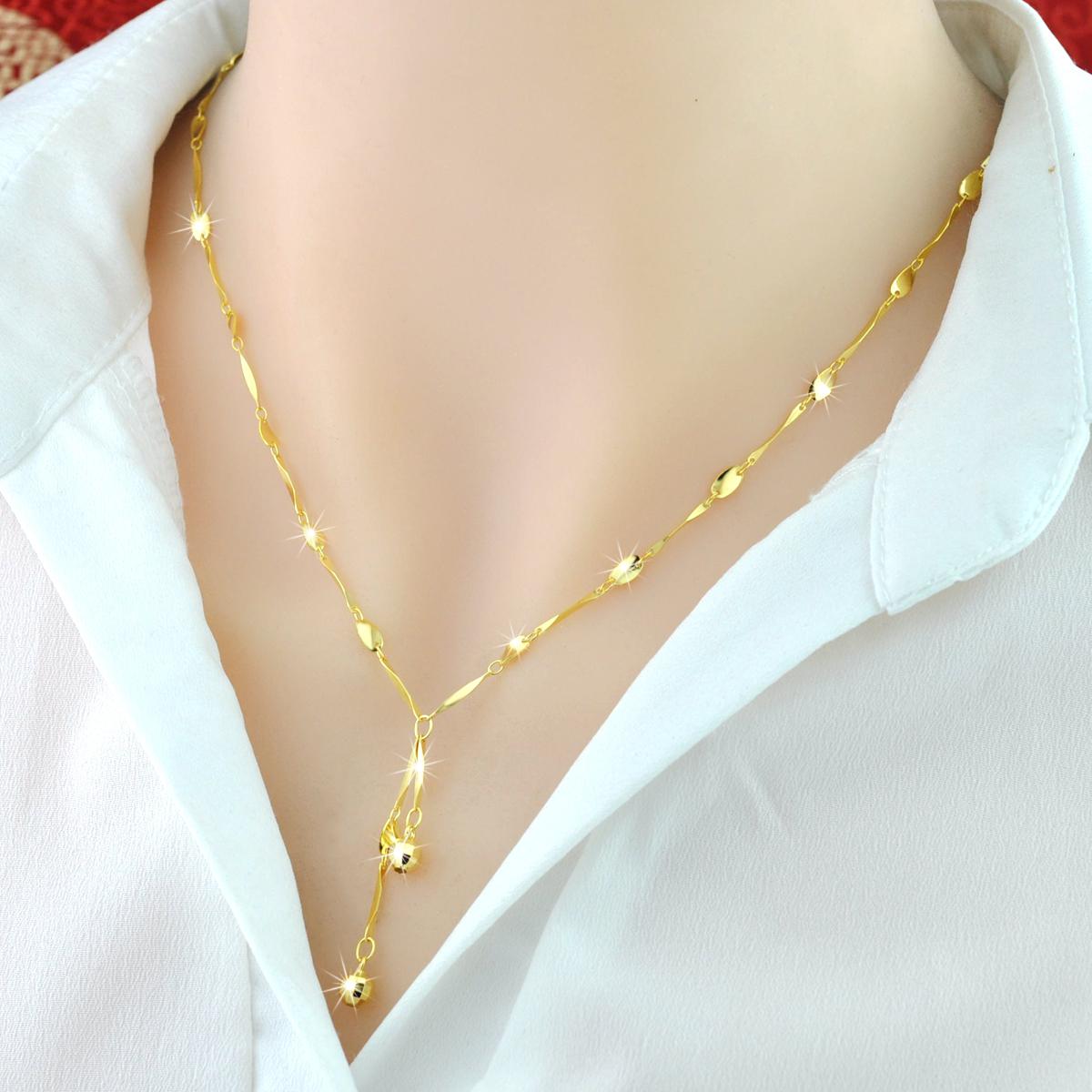 彩银项链女 S925纯银韩版18K彩金项链气质简约韩版银饰学生锁骨链