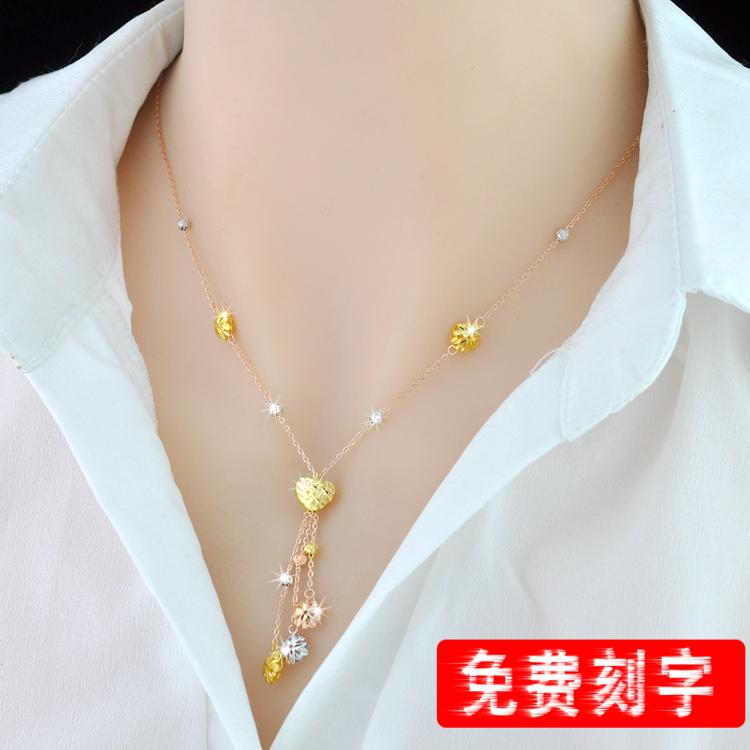 彩银项链女S925纯银镀彩金项链女流苏锁骨链简约韩版银饰生日礼物