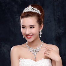 Bridal crown Earrings Necklace three set Korean wedding jewelry headwear set wedding dress accessories jewelry accessories