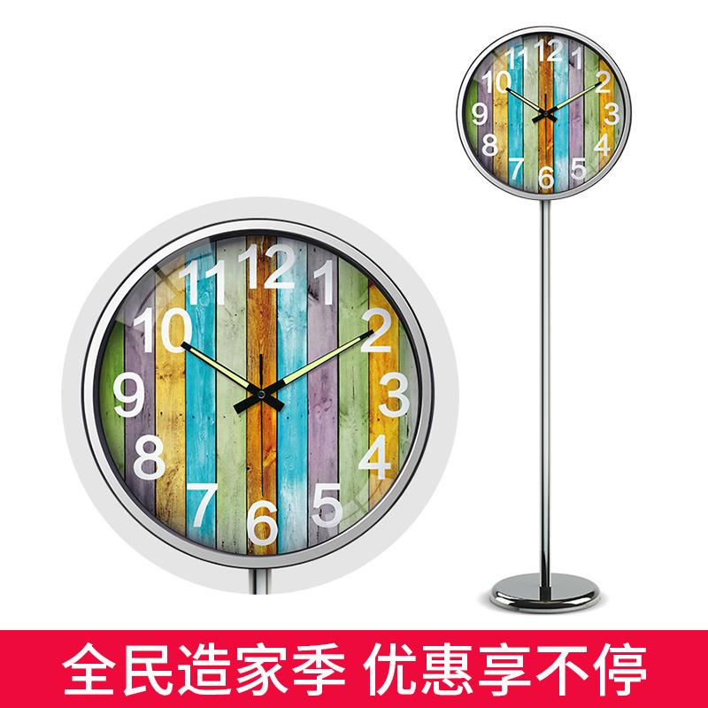 夜光数字落地挂钟北欧风格 立地钟时尚创意站地钟表金属静音客厅
