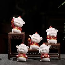 招财五福猪 德化白瓷猪年吉祥物 新中式家装家饰手工精品茶宠摆件