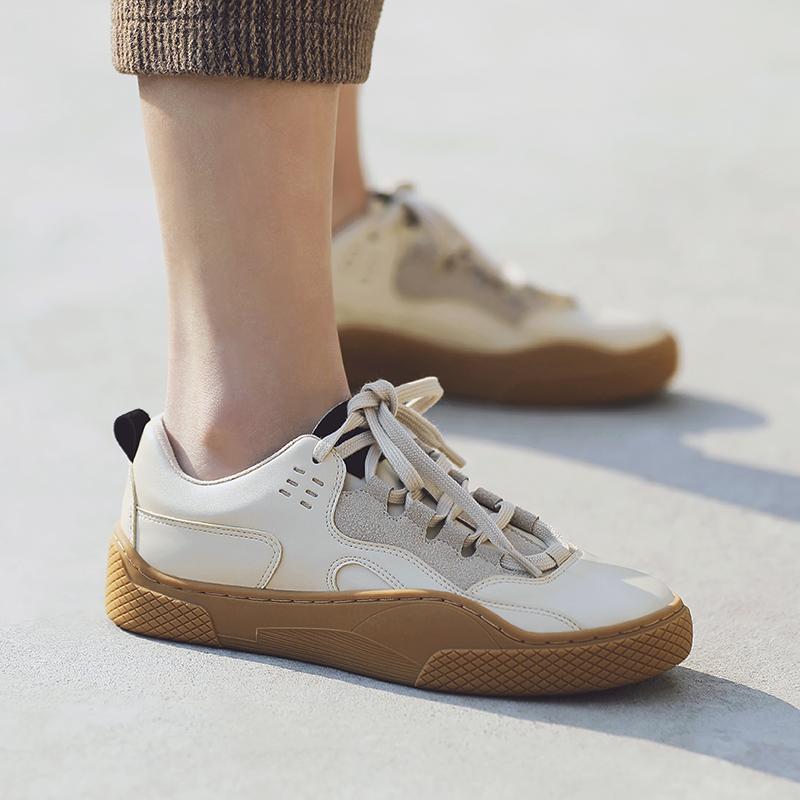 MASOOMAKE韩版休闲运动鞋子女 2019新款春季舒适平底系带板鞋女鞋
