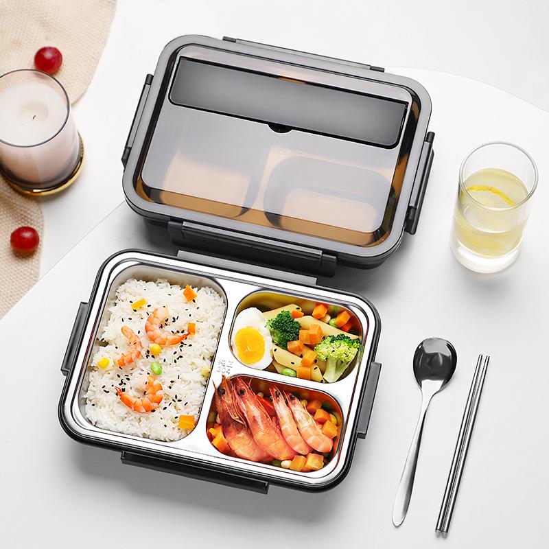 饭盒大容量不锈钢小学生专用儿童便当餐盒午餐分格型防烫带盖保温