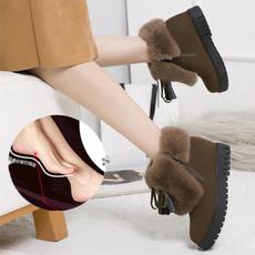 冬季雪地靴女短筒加绒加厚短靴双拉链防滑内增高厚底真皮兔毛棉靴