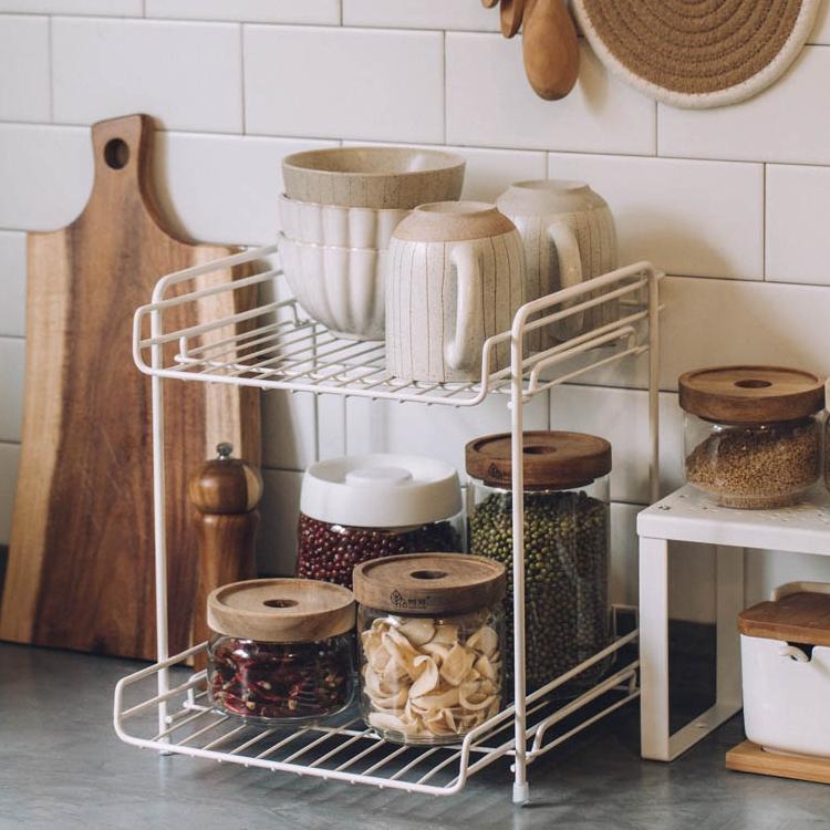树可铁艺双层置物架家用橱柜台面收纳架免打孔厨房桌面多功能架子