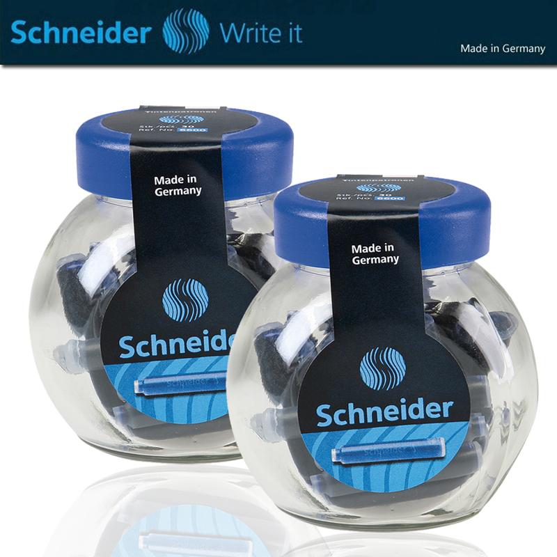 德国施耐德墨囊瓶装墨水胆 墨囊Schneider学生用钢笔墨胆30支/100支钢笔水欧标通用大瓶装彩色非碳素黑墨水囊