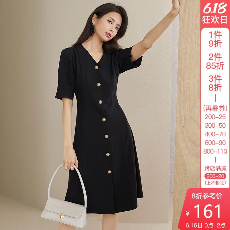 范思蓝恩2020新款V领气质连衣裙女夏季收腰复古通勤风显瘦小黑裙