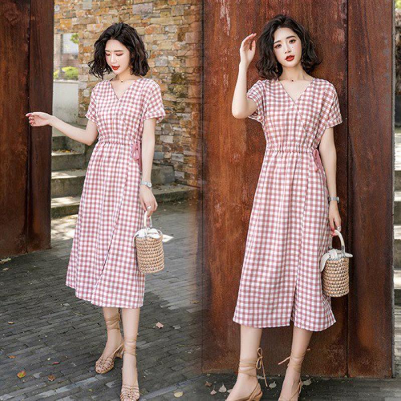 牛油果绿抹茶绿格子连衣裙夏仙女超仙森系收腰显瘦气质v领桔梗裙